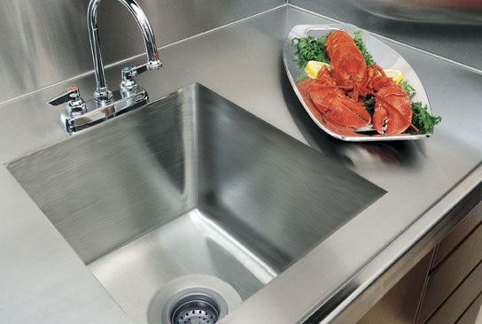 A line by advance tabco professional stainless steel for Stainless steel countertop with integral sink